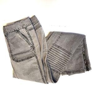 Mossimo Slim Skinny Moto Zippered Jeans Gray - 1